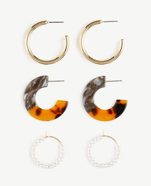 Ann Taylor Mixed Hoop Earring Set