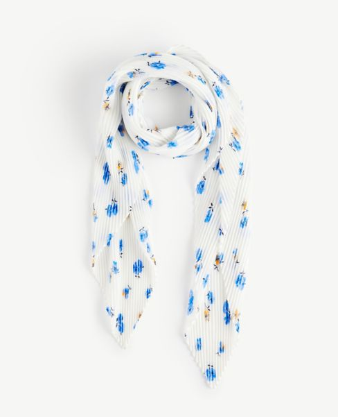 Ann Taylor Floral Pleated Square Scarf