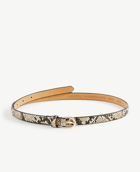 Ann Taylor Snake Print Skinny Belt
