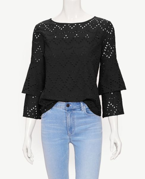 Ann Taylor Eyelet Tiered Sleeve Top