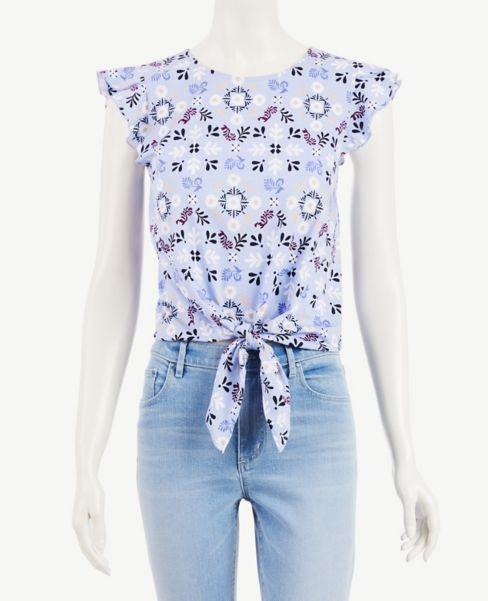 Ann Taylor Bandana Floral Flutter Sleeve Tie Front Top