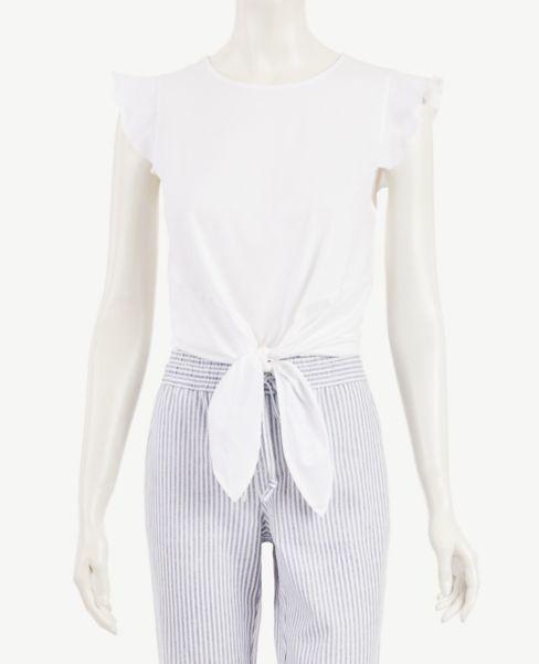 Ann Taylor Petite Flutter Sleeve Tie Front Top
