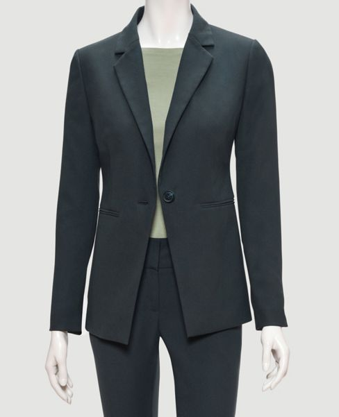 Ann Taylor Crepe One Button Women's Jacket (Pine Needle Green)