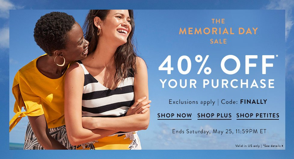 aa50998295e 40% Off Memorial Day Weekend