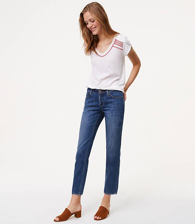 7a300014ae Tall Unpicked Boyfriend Jeans in Staple Mid Indigo Wash