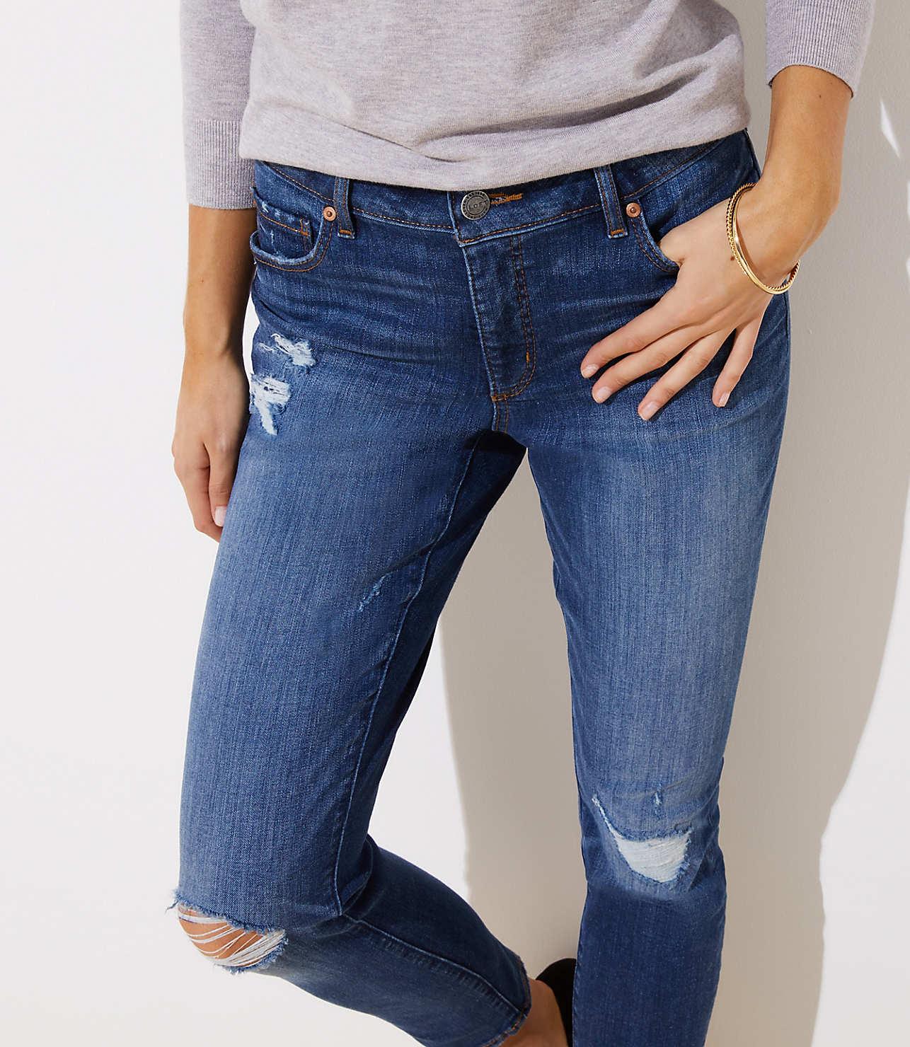 official photos 8f620 1b51d Destructed Slim Pocket Skinny Jeans in Mid Indigo Wash | LOFT
