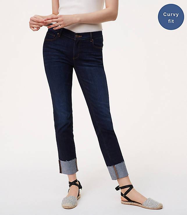 Petite Curvy Frayed Cuff Straight Leg Jeans in Super Dark Indigo Wash