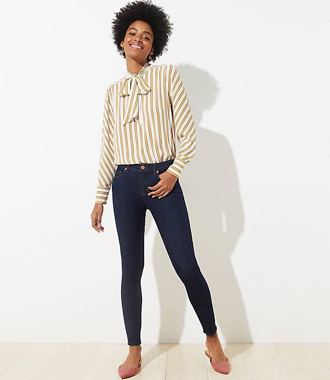 5cbe8cb45a28e8 Modern Skinny Jeans in Dark Rinse Wash | LOFT
