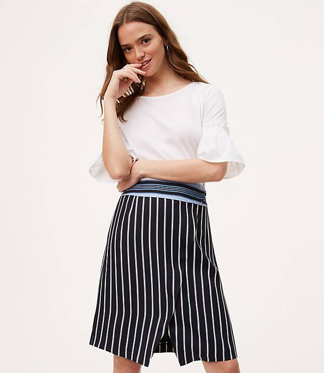 Petite Mixed Stripe Wrap Skirt