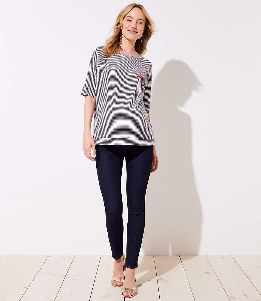 6cb98344157d2 Petite Maternity Skinny Jeans in Dark Rinse Wash | LOFT