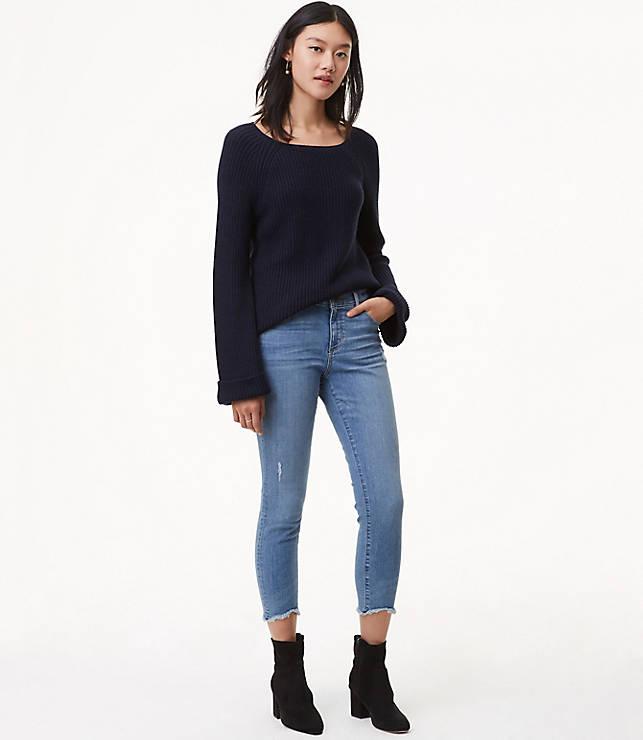 Petite Modern Skinny Chewed Hem Jeans in Mid Indigo Wash