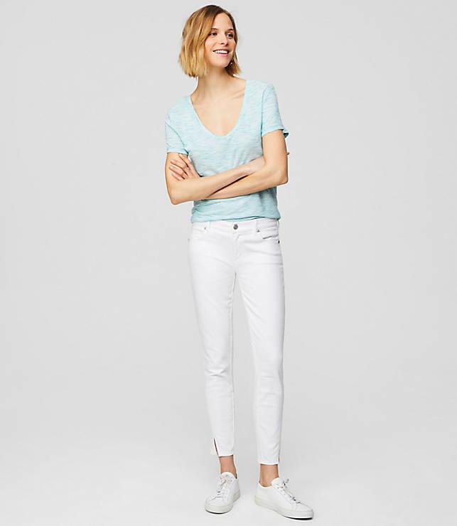 Petite Modern Twist Seam Skinny Jeans in White