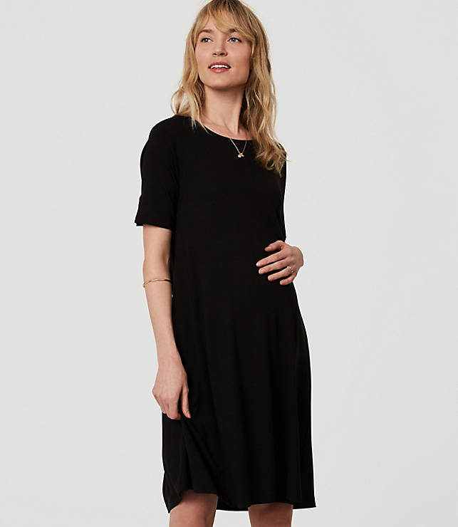 Petite Maternity Short Sleeve Swing Dress Loft