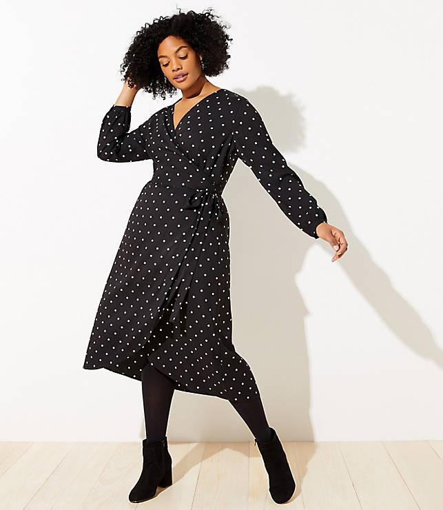 7d1842f9058 LOFT Plus Polka Dot Wrap Midi Dress