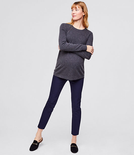 A forever essential, our skinny ankle pants are narrow from hip to hem with a flattering mid-rise. Designed with a stretchy roll panel that covers and smoothes the belly. Faux fly. Back welt pockets. 26\\\
