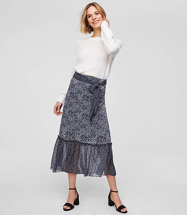 Petite Blossomed Tie Waist Midi Skirt