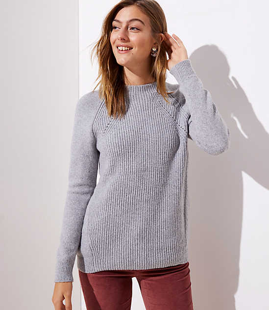 Mixed Ribbed Mock Neck Sweater