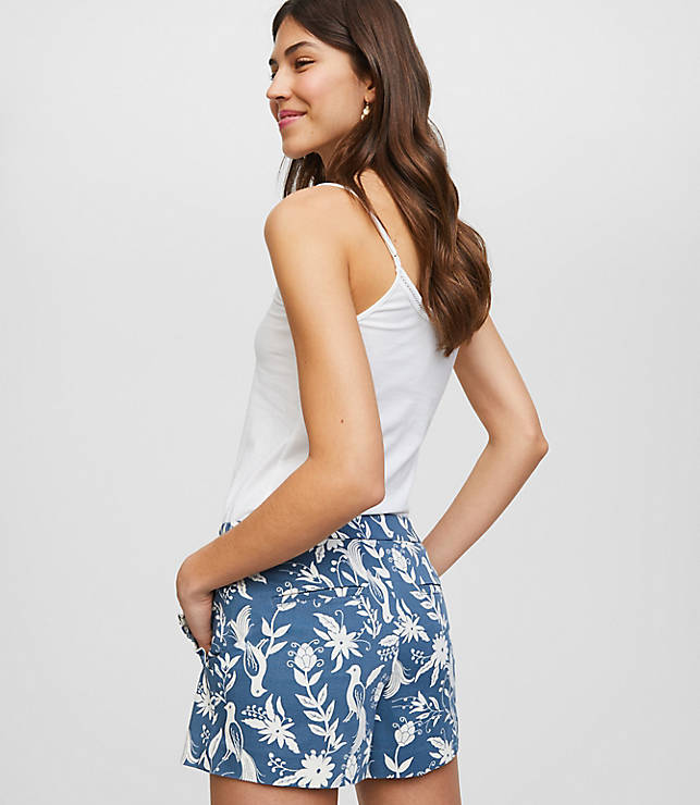 Petite Peacock Ruffle Pocket Riviera Shorts with 3 1/2 Inch Inseam