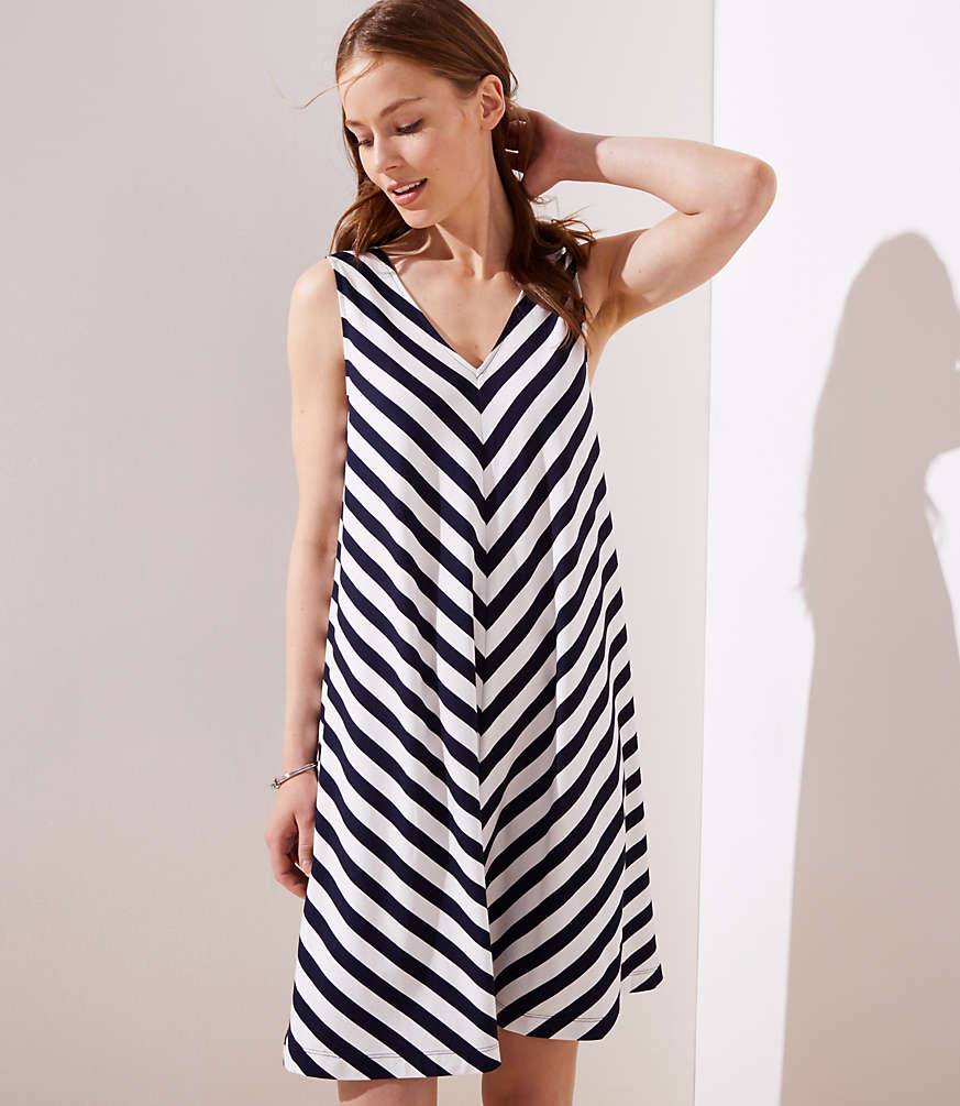 a21525e81bc8 Chevron Double V Sleeveless Swing Dress | LOFT