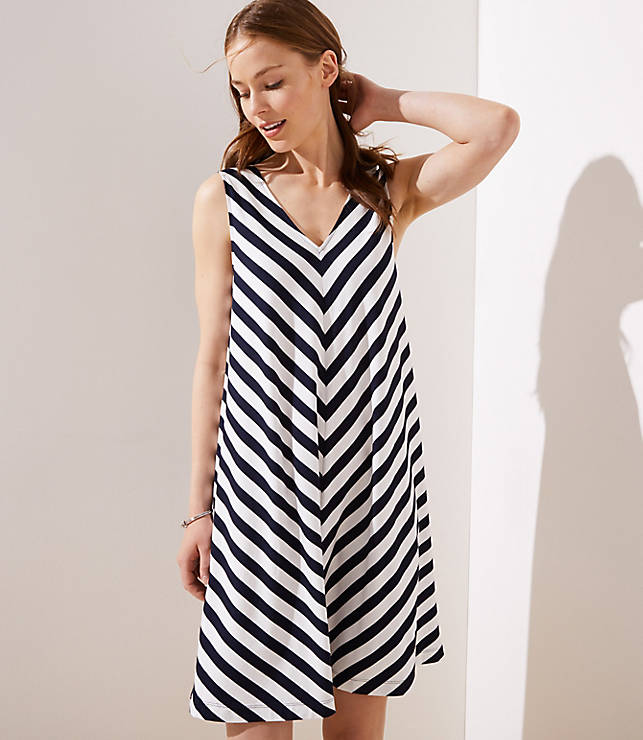 c1b4aa930b7b Chevron Double V Sleeveless Swing Dress | LOFT