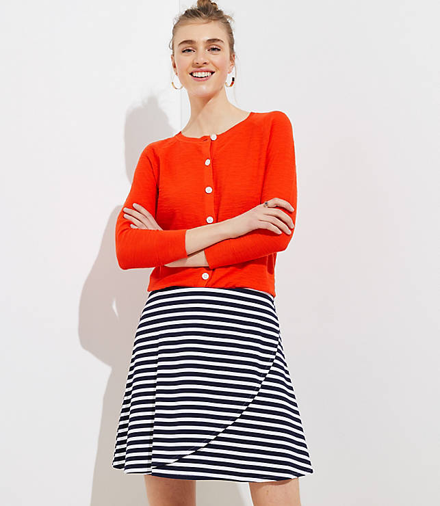 Petite Striped Wrap Pull On Skirt