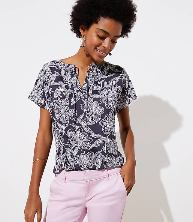 Petite Abstract Floral Tie Neck Mixed Media Tee