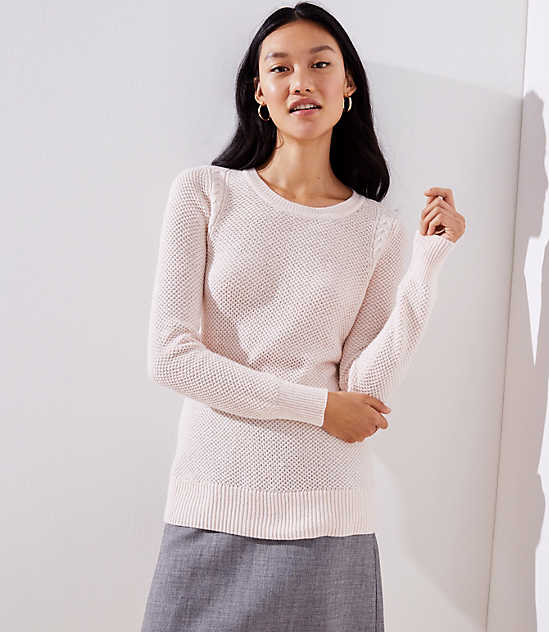 fc6f4be89a Cable Knit Trim Stitchy Sweater