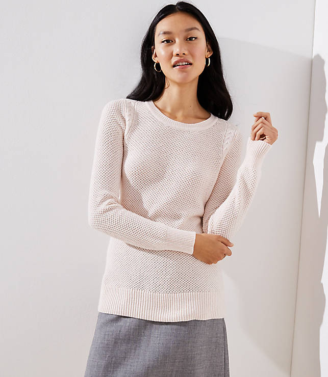 283753f2c2ed Cable Knit Trim Stitchy Sweater