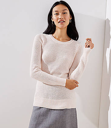 Cable Knit Trim Stitchy Sweater b5633ae5e