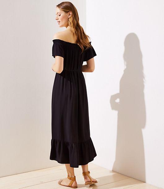 6395d811f8c1 Image 3 of 3 - Petite Off The Shoulder Button Down Midi Dress