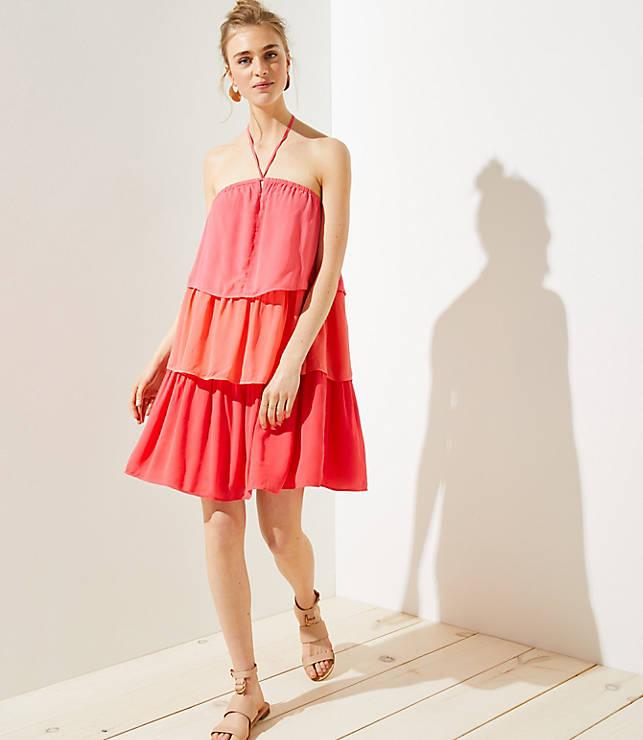 Petite Tiered Halter Dress