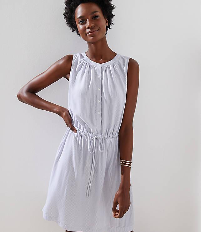 Petite Striped Sleeveless Shirtdress