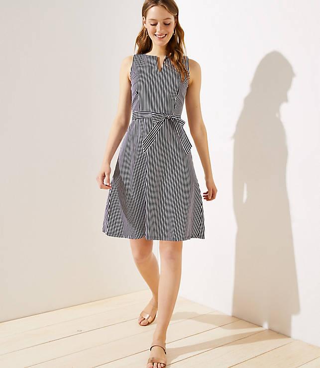 Petite Striped Split Neck Tie Waist Dress