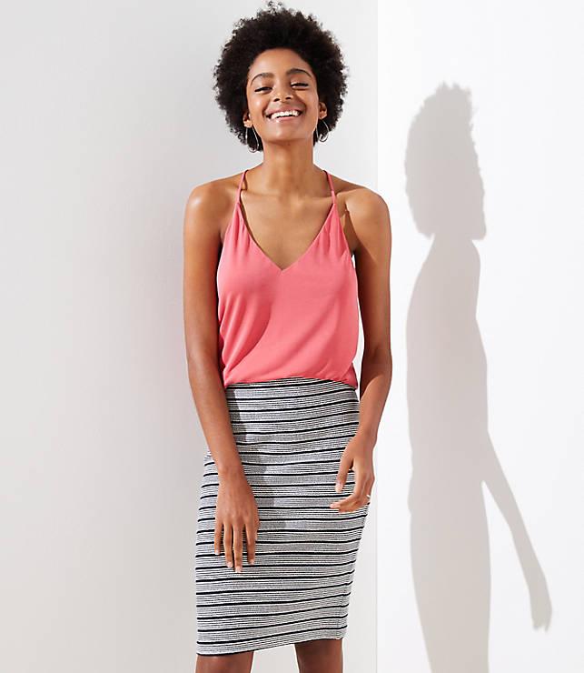 Petite Striped Pull On Pencil Skirt