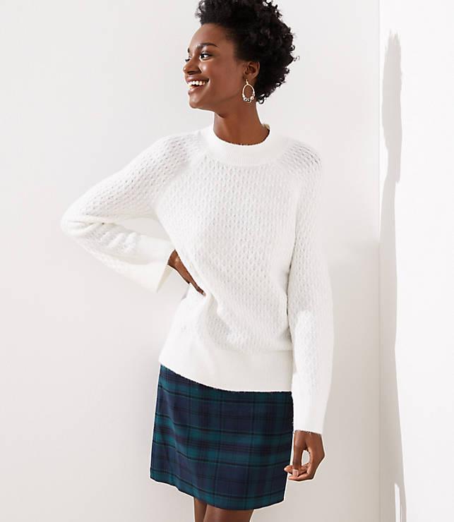 Petite Stitchy Flare Sleeve Sweater