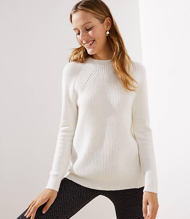 Petite Mixed Ribbed Mock Neck Sweater