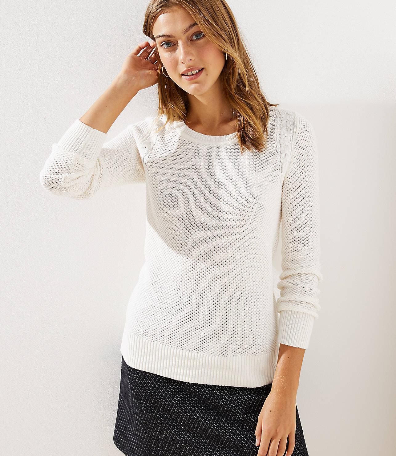 42fb78dfc2 Petite Cable Knit Trim Stitchy Sweater by LOFT