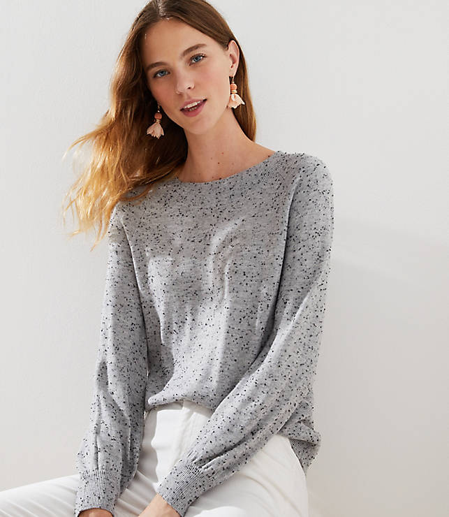 Petite Speckled Draped Sleeve Sweater