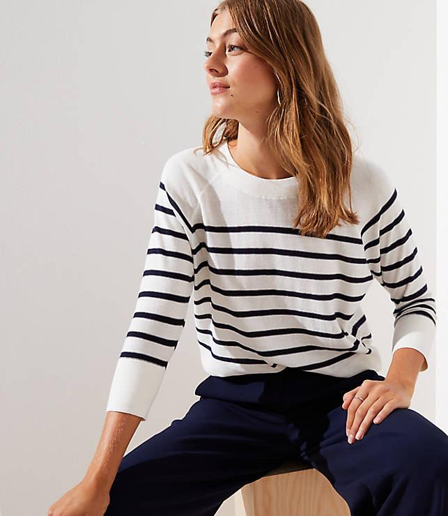 Petite Striped Dolman Sweater