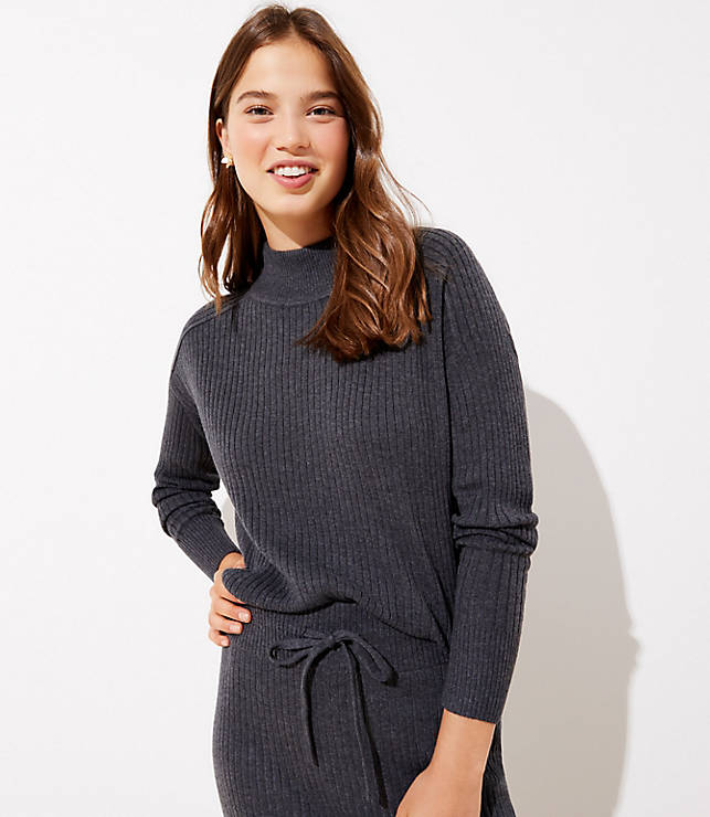Ribbed Luxe Knit Mock Neck Sweater by Loft