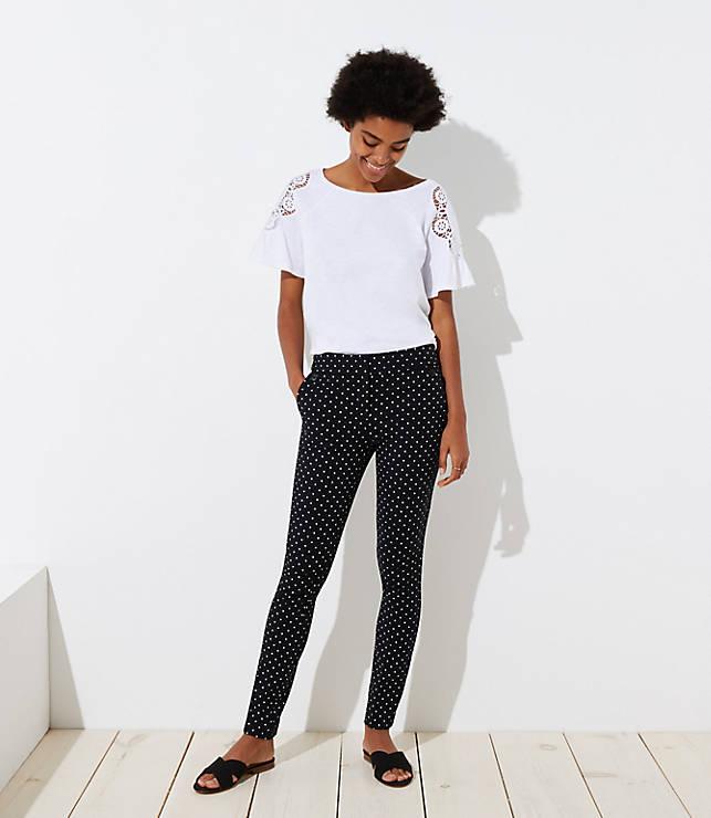 Petite Skinny Polka Dot Ankle Pants in Marisa Fit