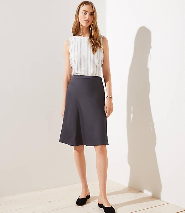 Petite Satin Midi Skirt