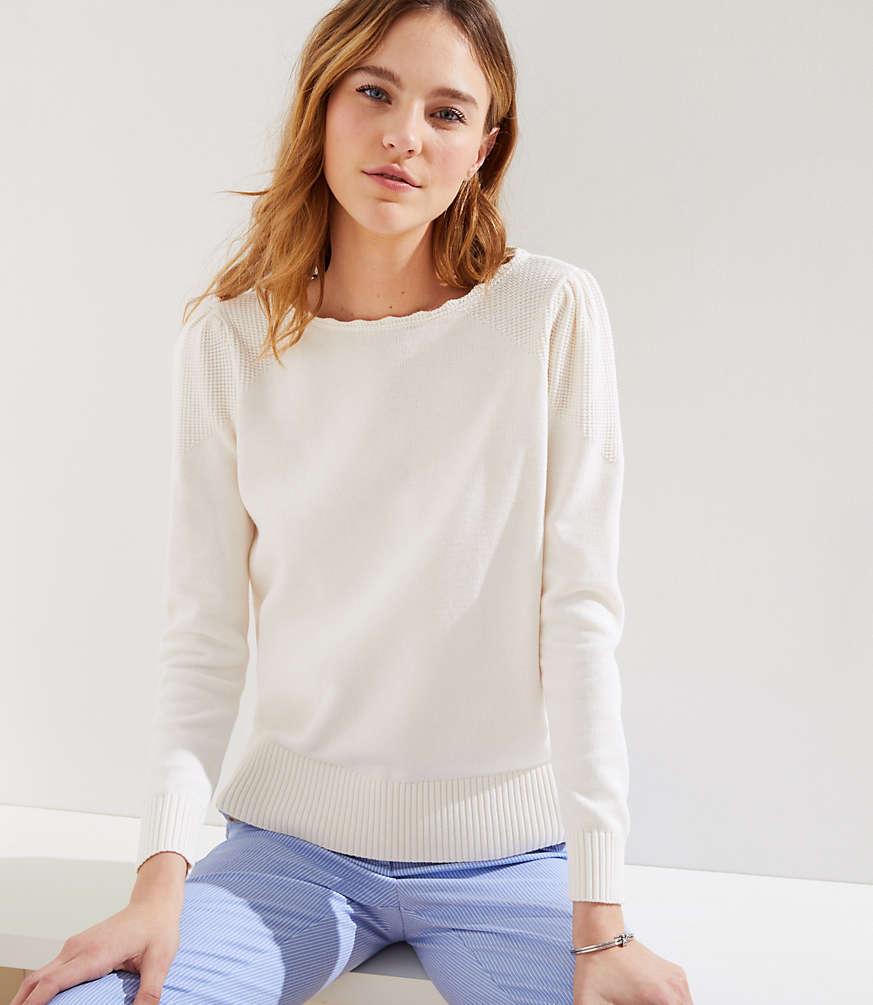 8a25c0328a228 Stitchy Puff Sleeve Sweater | LOFT