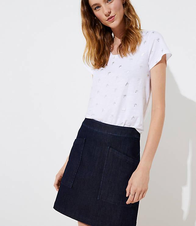 Petite Denim Pocket Shift Skirt