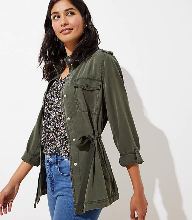 Petite Drawstring Utility Jacket