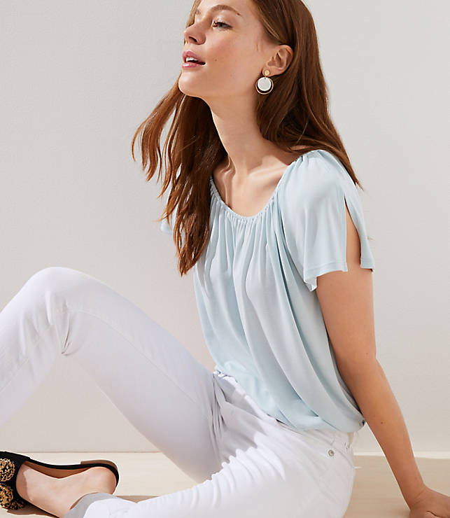 Petite Shirred Split Sleeve Top
