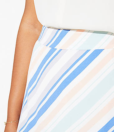 LOFT Plus Striped Covered Button Skirt