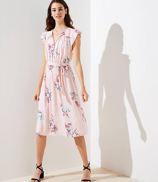 Petite Bouquet Tie Waist Flutter Dress