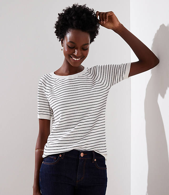 Petite Striped Sweater Tee