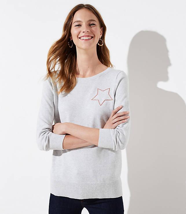 Petite Metallic Star Sweater